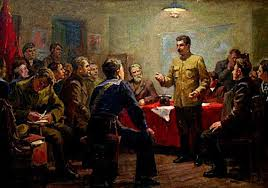 "Karp Demyanovich Trokhimenko: ""Stalin as an Organizer of the October Revolution"". Oil on canvas, 85 x 117 cm"